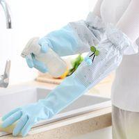 Su geçirmez Lastik Bulaşık Eldivenler Dayanıklı Ev Çamaşır Yıkama Tabaklar Eldiven Uzun Kollu Lateks Mutfak Chores Temiz Eldivenler DBC DH0618