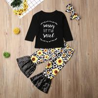 Herbst-Kleinkind-Baby-Kleidung Langarm-Oberteile Hosen Stirnband Outfits Set