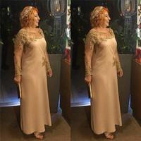 Jewel élégante mère de la robe de mariée longueur de thé en mousseline de soie avec manches longues et appliques faites sur mesure