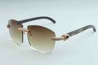 Factory Outlet Simple Luxury Padrão Óculos de sol com diamantes completa Óculos T4189706-B7Luxury Frameless Natural Preto chifre chifre óculos de sol espelhados