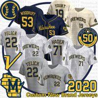 Milwaukee Christian Yeliach Jersey Josh Hader 71 Jesus Aguilar 19 Robin Yount Brandon Woodruff Lorenzo Cain 2020 Temporada 50ª Jerseys