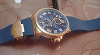 Montre de Luxe Marine cadran bleu or rose 18 kt Mens Watch automatique Mens Watch Top qualité