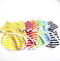 Camisa de perro de rayas O cuello pequeño perro camisetas verano cachorro ropa clásico mascota trajes de perro ropa 6 colores 50pcs lqpyw990