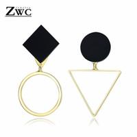 ZWC Mode Geometrische Gold Silber Asymmetrische Bolzenohrrings für Frauen Hochzeit Charme Dreieck Runde Acryl Ohrringe Schmuck Geschenk