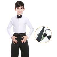화이트 소년 라틴어 댄스 의상 빛나는 스판덱스 현대 볼룸 탱고 룸바 라틴어 셔츠
