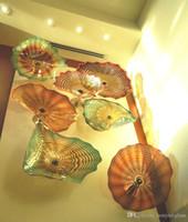 Amber Murano Glass Art 100% Рука выдувное декор стены цветок Стеклянные пластины стены дома украшения Blow Art Plate