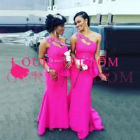 2019 Элегантный Blush Pink одно плечо Русалка платья невесты Arabic свадьба платья Дешевые Длинные горничной честь платья