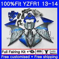 Cuerpo de inyección para YAMAHA YZF 1000 YZF R 1 YZFR1 2013 2014 242HM.7 YZF-1000 YZF R1 Gris azul venta caliente YZF1000 YZF-R1 13 14 Kit completo de carenado