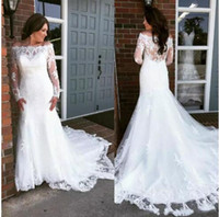 Elegant Off Shoulder Mermaid Wedding Dresses Long Sleeves 20...