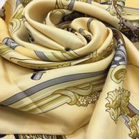 praça lenço 100% o tamanho padrão de cavalo impressão de seda de boa qualidade 130 centímetros Atacado-novo estilo das mulheres - 130 centímetros