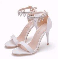 Bridal 9см белый римский каблук свадебные туфли 2020 горный хрусталь кисточка сандалии свадебные вечеринки обувь банкетные насосы