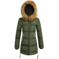 Diseñador para mujer Chaquetas Moda delgado Medio manga larga Parkas invierno de las mujeres de la capa del tamaño extra grande caliente chaqueta de las señoras