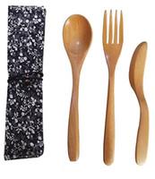 Arts de la table Couverts Ecolo-Portable Flatware couteau fourchette cuillère avec sac en tissu étudiant vaisselle Ensembles CMP012