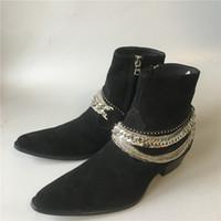 2020 محدودة وايت هاري SLP انجلترا الرجال اللباس الجينز المصنوعة يدويا من جلد الغزال الأحذية والجلود حقيقي شرابة CHIAN كاحل يمهد اليدوية
