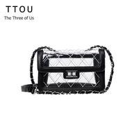 84f522a9cd981 TTOU Women Fashion Transparent Beach Bags Pu Leather Crossbody Bag Female  Small Chain Bag Lattice Cross Shoulder Bags