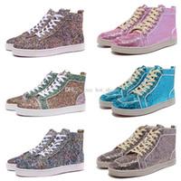 Ucuz Rantus Erkek Bayan Düz Glitter Kırmızı Dipleri Ayakkabı Casual Luxurys Tasarımcılar Erkekler Kadınlar Kızlar için Sneakers Kızlar Severler Yüksek Üst Parti Ayakkabı