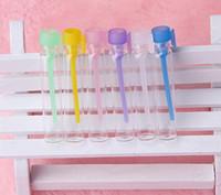 Por DHL / Fedex Mini 1 ml botella de perfume vacía tubo transparente prueba frascos de cristal envases cosméticos muestra del frasco de aromaterapia con tapas coloridas