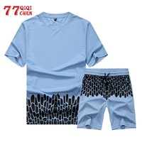 Men Tracksuit 2020 New Summer mens clothing Short Sleeve T shirts+ Shorts Sets Male printing Fitness Male Casual 2 Pieces sets
