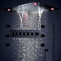 Newest 24 Inches Bathroom Black Shower Set Large SUS304 6 Functions Shower Head Systerm Thermostatic Mixer Waterfall Jets Led Ceiling Light