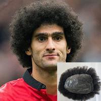 Complet Pu Curly Hommes Toupet Afro Toupee Pour Hommes Afro Bouclés Hommes de Perruque Systèmes de Remplacement de Perruque Noir V-Loop Peau Mince Hairpiece Cheveux