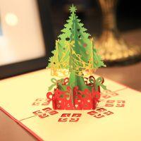 신년 축제를 위해 봉투 크리스마스 카드 인사말 카드 3D 팝업 고유 휴일 엽서 초대장 크리스마스 트리