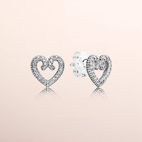 Pandora Kalpler Moda küpe Kalp Girdap saplama Küpe Otantik 925 Gümüş cz Elmas Kadınlar Küpe Orijinal Kutusu
