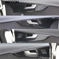 TOMEFON İçin A5 2017 2018 2019 LHD carbonfiber İç Kapı Kolu çekin Paneli Emniyet Kilidi Kapak Trim Sticker Aksesuar ABS