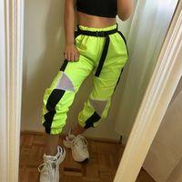Patchwork Neon Yeşili Yüksek Bel Harem Pantolon Mesh Kadınlar Streetwear Giyim Koşucular Pantolon Pantolon Sweat