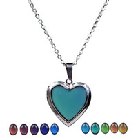 20PCS Heart Lockets Pendants Mood Necklaces Emotion Color ch...