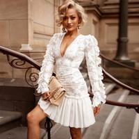 Kleid der Frau weiße Gaze gestickt bedruckten Rock-Hauchhülse Partei Rock sexy tiefes V-Ausschnitt Spitze Chiffon Abendkleid