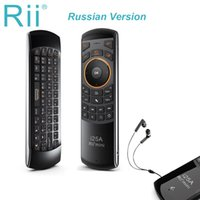 Original Rii i25A ruso inglés teclado inalámbrico Air Mouse con auricular Jack para PC Smart TV para Android TV Box 8.1 T9 X96