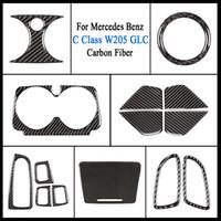 Autotürgriff Schüssel Deckel Aufkleber Carbon-Faser-Innen Elektrische Fensterheber-Schalter Taste Abdeckungs-Ordnung für Mercedes Benz C-Klasse W205 GLC