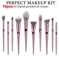 Nasse und wilde Pinsel Set 10pcs Rose Gold Make-up Pinsel Lidschatten Puder Kontur Pinsel Kits Beauty Kosmetik Werkzeuge Pinsel Foundation Brushes