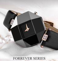 Vente chaude femmes montres de luxe nouvelle mode des femmes Robe Montres cas en céramique Bracelet en cuir Relogio Feminino Lady Quartz Montre-bracelet BRW