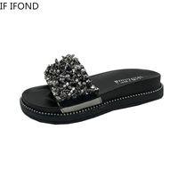 IF IFOND Mulheres Chinelos Glitter Plano suaves feminino Flip Flops Bling Ladies Beach Fashion Shoes praia selvagem sandálias ao ar livre