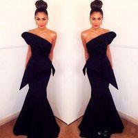 Sexy Un Hombro Vestidos de Noche Negros Sin Respaldo Satén Sirena Vestido de Fiesta Vestidos de Fiesta Formales Tallas especiales Ocasión para mujeres Vestido