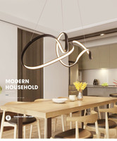 Lampadario circolare Illuminazione per sala da pranzo Soggiorno Sospensione Bianco Nero Moderno Lampadario a sospensione con telecomando