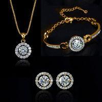 Циркон Кристалл браслет ожерелье серьги комплект ювелирных изделий Золото Серебро Белое золото Цвет Wedding себе наборы ожерелье для женщин подарка ювелирных изделий
