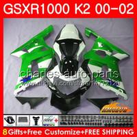 Marco para Suzuki GSXR 1000 K2 GSXR1000 2000 2001 2002 CUERPO 14HC.129 GSX R1000 00 02 GSXR-1000 GSX-R1000 00 01 02 Kit de carenajes Negro verde