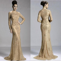 2020 Gold Sexy Langarm Juwel Abendkleid Zipper Sweep Zug Formale Prom Mutter Kleider mit Spitze Perlen Perlen Applikationen Arabisch