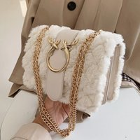 Female Winter Soft Plush Fur Handbag Deer Lock Chain Shoulde...