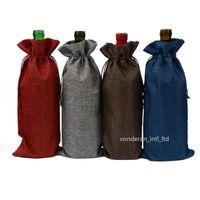 Винные мешки для бутылки вина наборы подарочной презентации Упаковочная сумка, вытягивая веревочные сумки 750мл16 * 36см