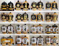 Boston Bruins Jersey Men 4 Bobby Orr 9 Johnny Bucyk 12 Adam Oates 16 Derek Sanderson Ice Hockey Jerseys Vintage Home Noir Blanc
