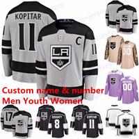11 Anze Kopitar Los Angeles King jersey 8 Drew Doughty 32 Jonathan Quick 77 Jeff Carter 99 Wayne Gretzky 17 Kovalchuk Car Hockey maglie