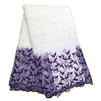 Las telas del cordón blanco magnífico púrpura para las gotas del material Con la boda del partido de tarde Nigeria niñas africanas Vestidos de encaje BF0032