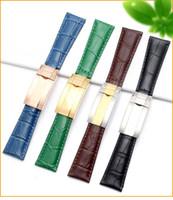 20mm qualidade homens assistir pulseira de banda para Rolex Sub / GMT Genuine couro cinta de couro durável acessórios de relógio com batida de aço inoxidável