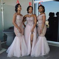 명예 드레스 저녁 마모 아프리카 신부 들러리 드레스 긴 혼합 스타일 아플리케 오프 숄더 인어 댄스 파티 드레스 분할 사이드 메이드