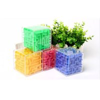 Nueva 3D Laberinto mágico cubo transparente rompecabezas de seis caras cubo de la velocidad de los Rolling Ball juego Maze Cubos Juguetes para los niños de educación 8 * 8 * 8 cm