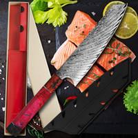 Küchenmesser 8-Zoll-VG10 Damaszener 67 Schicht Cleaver Dienstprogramm Gemüse Kiritsuke Gyuto Messer Verfestigte Holzgriff Gift Box Covers