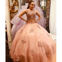 Quinceanera economici Prom Formal 2020 degli abiti di sfera bordato merletto Bandage 2 pezzi di promenade vestito da spettacolo di sera di lunghezza del pavimento Sweet 16 Dresses